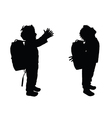 boy happy silhouette in black color vector image vector image