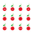 cherry modern flat emoticon set vector image vector image