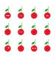 cherry modern flat emoticon set vector image