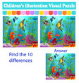 childrens visual puzzle find ten differences from vector image vector image
