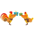 Cock gives gift vector image vector image