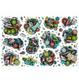 doodles cartoon set coronavirus objects and vector image