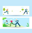 family sports grandmother grandfather and child vector image