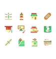 Flat color design chemists shop icons vector image