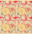 floral seamless pattern roses and tulips cheerful vector image