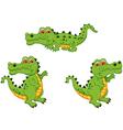 funny crocodile cartoon collection vector image vector image