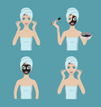 girl applies cosmetic mask on her face vector image vector image