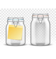 glass bale swing top jars with paper note vector image