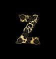 golden ornamental alphabet letter z font vector image vector image