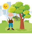 grandfather on park character vector image vector image