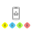 grey smartphone with download line icon isolated vector image vector image