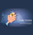 hand hold bitcoin over charts and graphs vector image