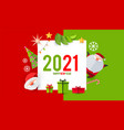 happy new 2021 year card teplate with cute santa vector image