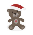 isolated christmas teddy bear on a white vector image