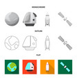 isolated object of mars and space sign set of vector image
