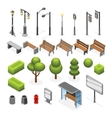 Isometric city street outdoor objects set