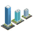 isometric set city houses composition vector image vector image