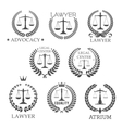 Lawyer and law office icons with scales of justice vector image