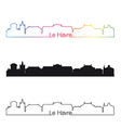 le havre skyline linear style with rainbow vector image vector image