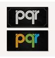 letter P Q R logo alphabet chalk icon set vector image vector image