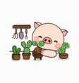 little pig planting gardencute cartoon character vector image vector image