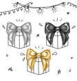 luxury bows set- black silver and gold knots vector image vector image