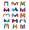 m letter icons template company brand name vector image vector image