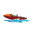 man on speed motorboat sea or river vehicle vector image