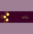 merry christmas golden and purple banner vector image vector image