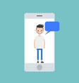 mobile concept young man chatting on smart vector image vector image
