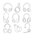 mono line pictures set of headphones vector image