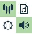 music icons set collection of file timbrel vector image vector image