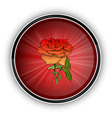 red rose on the round symbol vector image vector image