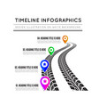 road way design infographics tire tracks timeline vector image vector image