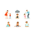 sad depressed children set unhappy stressed vector image vector image