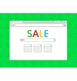 Sale browser window on green background vector image