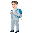 Schoolboy with backpack on a white background