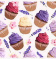 seamless cupcakes and flowers vector image vector image