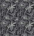 seamless pattern with hand drawn winter plants vector image vector image
