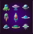 set cartoon rockets and alien spaceships vector image vector image