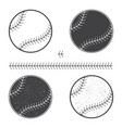 set of baseball icon and seam vector image