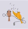 singing bird and listening bird vector image vector image
