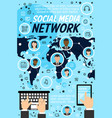 social network profiles and world map vector image