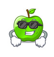 super cool character ripe green apple with leaf vector image