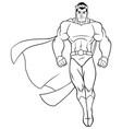 superhero flying on white line art vector image vector image