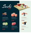 Sushi rolls flat food Asia cuisine menu vector image vector image