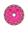 sweet and delicious donut kawaii character vector image