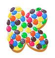sweet donut font letter k cartoon vector image vector image