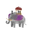 tourist with elephant indian ride design vector image