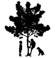 two best friends little boys climbing up a tree vector image vector image